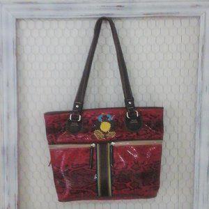 Consuela Pink Snakeskin Tote Carryall Bag
